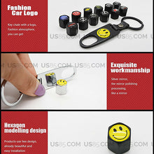 Load image into Gallery viewer, Universal Black Car Wheel Tyre Tire Valves Dust Stems Air Caps Keychain Emblem F - US85.COM