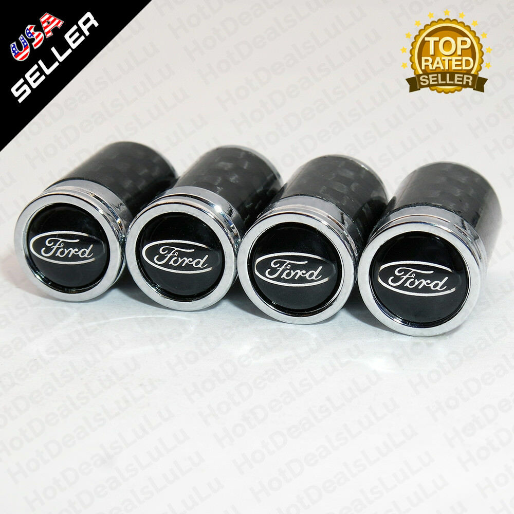Universal Carbon Fiber Car Wheels Tire Air Valve Caps Stem Cover With Emblem F1 - US85.COM
