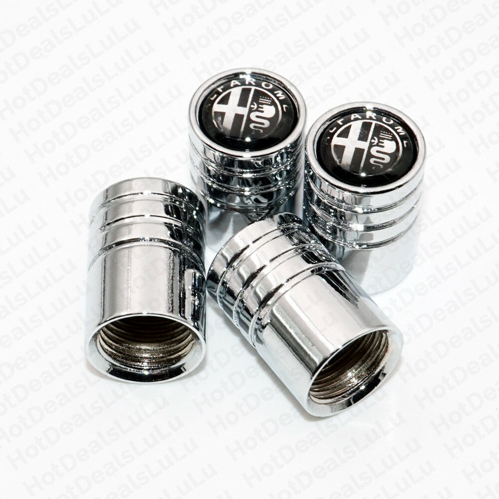 Silver Chrome Car Wheel Tire Air Valve Caps Stem Cover With Alfa Romeo Emblem - US85.COM