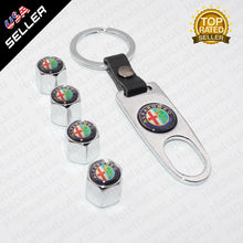 Load image into Gallery viewer, Chrome Car Wheel Tire Valve Dust Stems Air Caps Keychain With Alfa Romeo Emblem - US85.COM