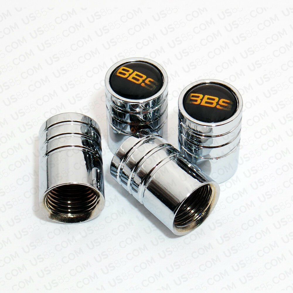 Silver Chrome Wheel Tire Air Valve Caps Stem Valve Cover With BBS Logo Emblem - US85.COM