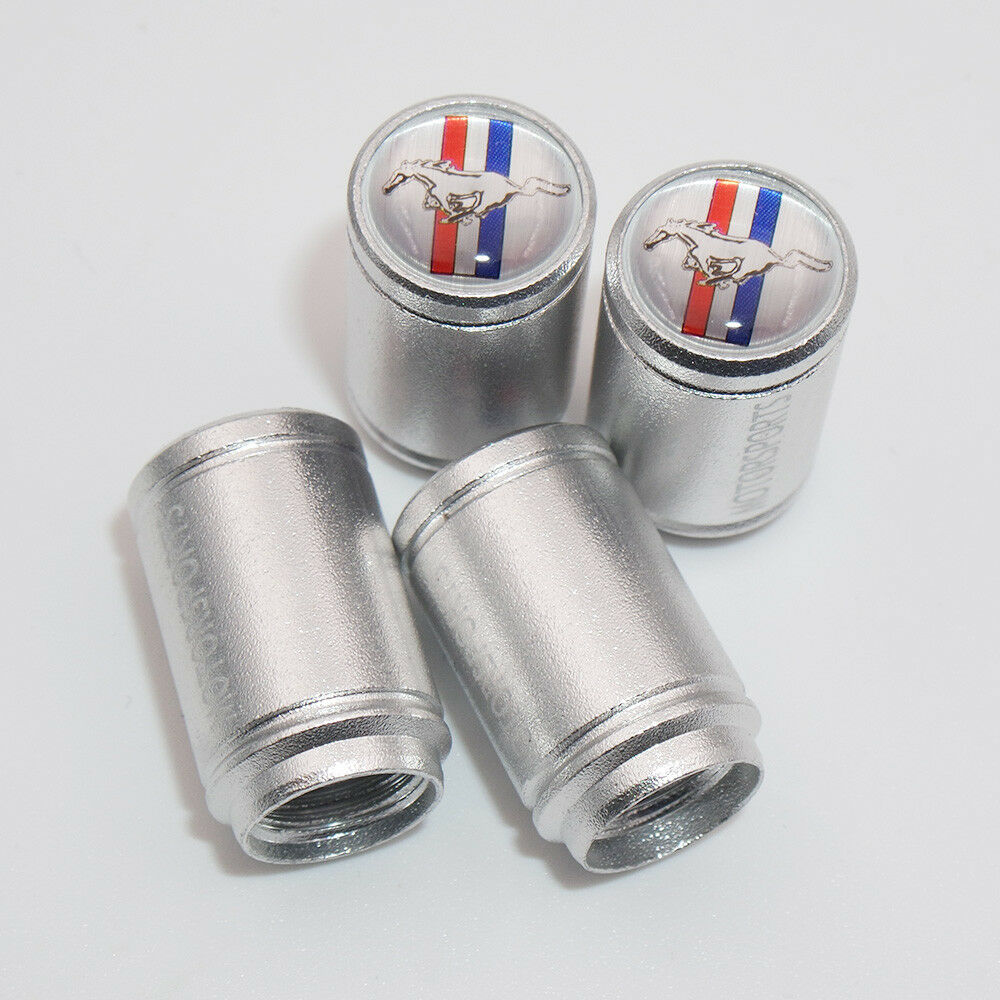 Silver Car Wheel Tire Tyre Air Valve Caps Stem Dust Cover Mustang Emblem Gift - US85.COM