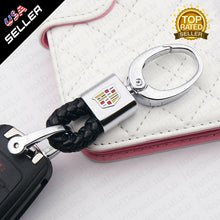 Load image into Gallery viewer, Black Leather Metal Keychain With Cadillac Logo Emblem Decoration Birthday Gift - US85.COM