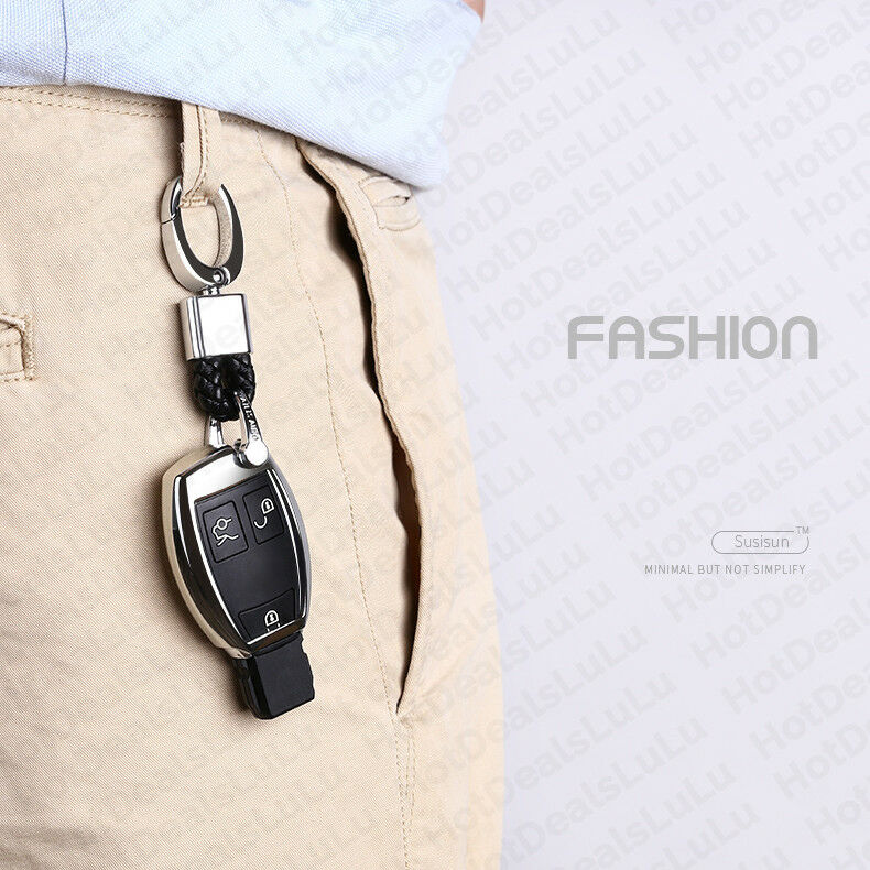 Black Leather Metal Keychain With Cadillac Logo Emblem Decoration Birthday Gift - US85.COM