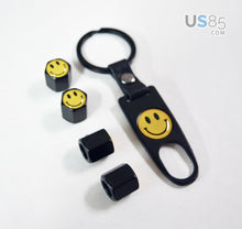 Load image into Gallery viewer, Black CAR Wheel Tyre Tire Valves Dust Stems Air Caps Keychain Smiling Emblem - US85.COM