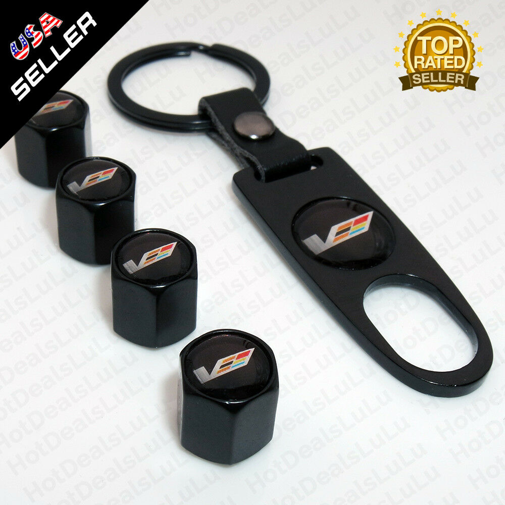 Black Car Wheel Tyre Tire Valves Dust Stems Air Caps Keychain Cadillac V Emblem - US85.COM