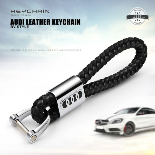 Black Calf Leather Alloy For Audi Keychain Gift Decoration Gift Accessories - US85.COM
