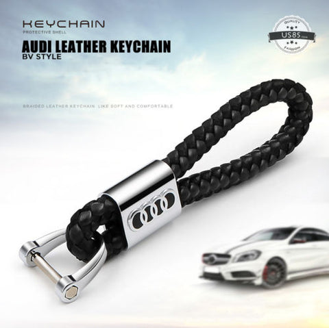 Black Calf Leather Alloy For Audi Keychain Gift Decoration Gift - Audi keychain