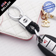 Load image into Gallery viewer, Black Calf Leather Alloy Nissan Logo Emblem Keychain Decoration Gift Accessories - US85.COM