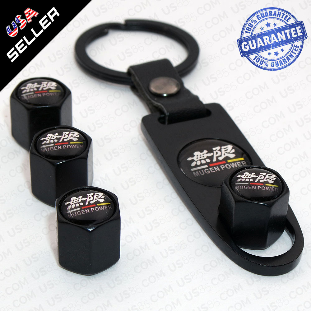 Black Car Wheel Tire Valve Dust Stems Air Caps Cover Keychain Mugen Power Emblem - US85.COM