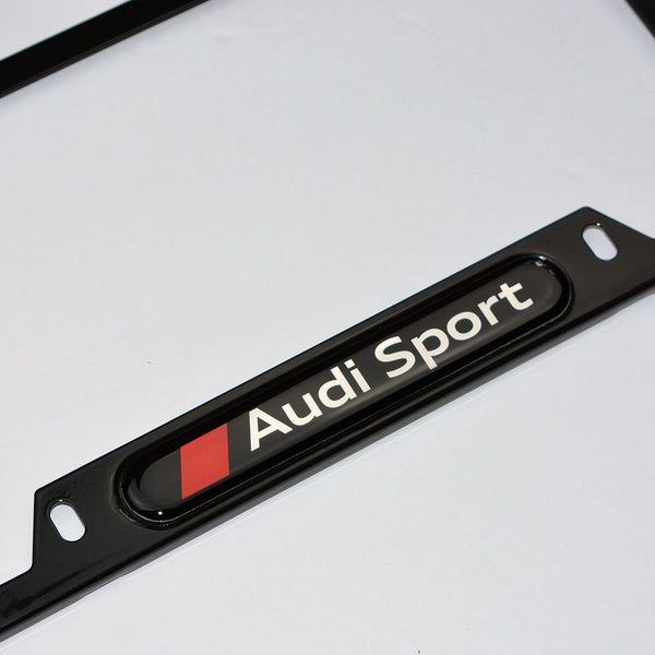 Black Stainless Steel Front Rear For Audi Sport License
