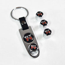 Load image into Gallery viewer, Silver Car Wheel Tire Valves Dust Stems Air Caps Keychain With Nissan GTR Emblem - US85.COM