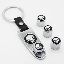Load image into Gallery viewer, Silver Auto Car Wheel Tire Valve Dust Stems Air Caps Keychain With Skull Emblem - US85.COM