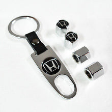 Load image into Gallery viewer, Silver Car Wheel Tire Valves Dust Stems Air Caps Keychain With Honda Emblem - US85.COM
