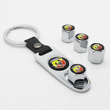 Load image into Gallery viewer, Silver Car Wheel Tire Valve Dust Stems Air Caps Keychain With Fiat Abarth Emblem - US85.COM