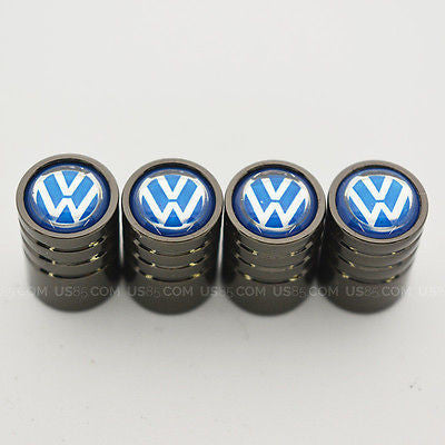Black Chrome Car Wheel Tire Air Valve Caps Stem Cover With Volkswagen Emblem - US85.COM