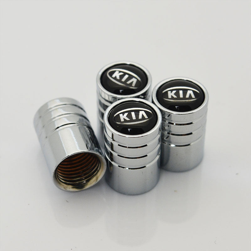 Silver Auto Chrome Car Emblem Wheel Tire Air Valve Caps Stem Cover KIA Decoration - US85.COM