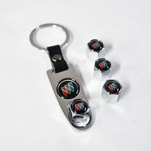 Load image into Gallery viewer, Silver Auto Car Wheel Tire Valves Dust Stems Air Caps Keychain With Buick Emblem - US85.COM