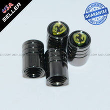 Load image into Gallery viewer, Black Chrome Wheel Tire Air Valve Caps Stem Cover With Ferrari Emblem Decoration - US85.COM