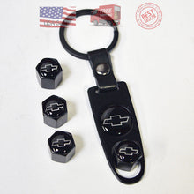 Load image into Gallery viewer, Black Car Wheel Tyre Tire Valve Dust Stems Air Caps Keychain Chevrolet Emblem - US85.COM