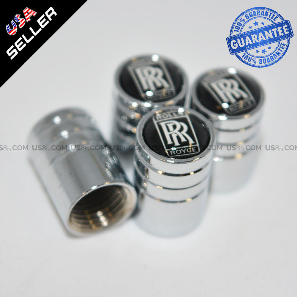Silver Chrome Auto Car Wheel Tire Air Valve Caps Stem Cover Rolls-Royce Emblem - US85.COM