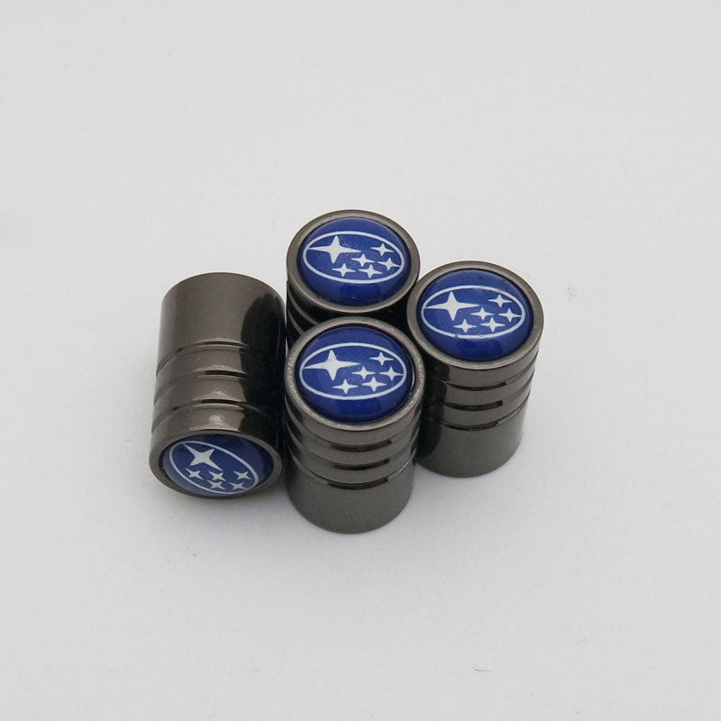 Black Chrome Auto Car Wheel Tire Air Valve Caps Stem Cover With Subaru Emblem - US85.COM