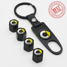 Load image into Gallery viewer, Black Car Wheel Tyre Tire Valve Dust Stems Air Caps Keychain With Smart Emblem - US85.COM