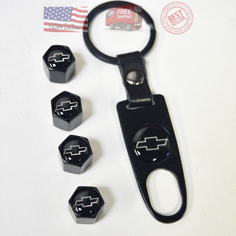 Black Car Wheel Tyre Tire Valve Dust Stems Air Caps Keychain Chevrolet Emblem - US85.COM