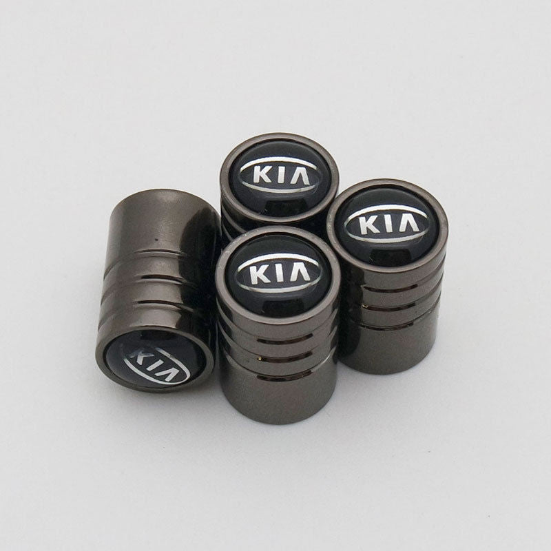Black Chrome Auto Car Wheel Tire Air Valve Caps Stem Cover KIA Decoration Emblem - US85.COM