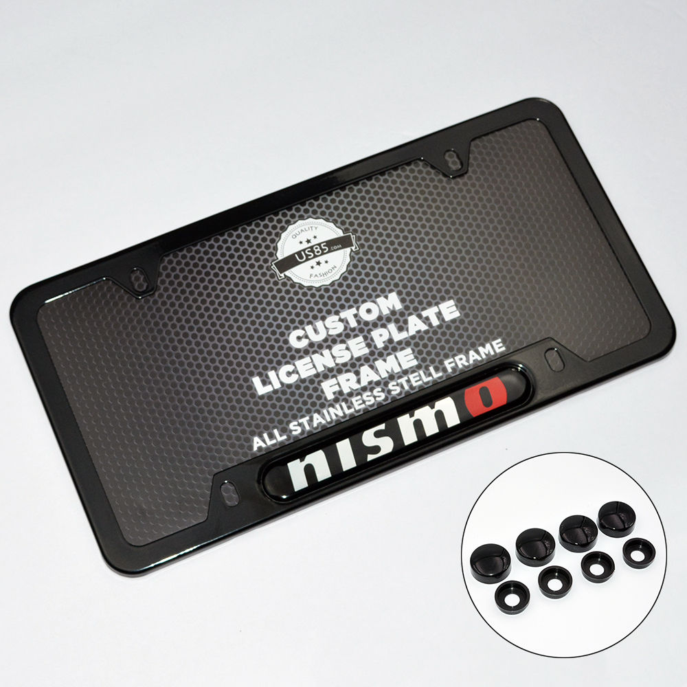Black Stainless Steel Front Rear Nismo License Plate Frame Cover Gift Holder - US85.COM