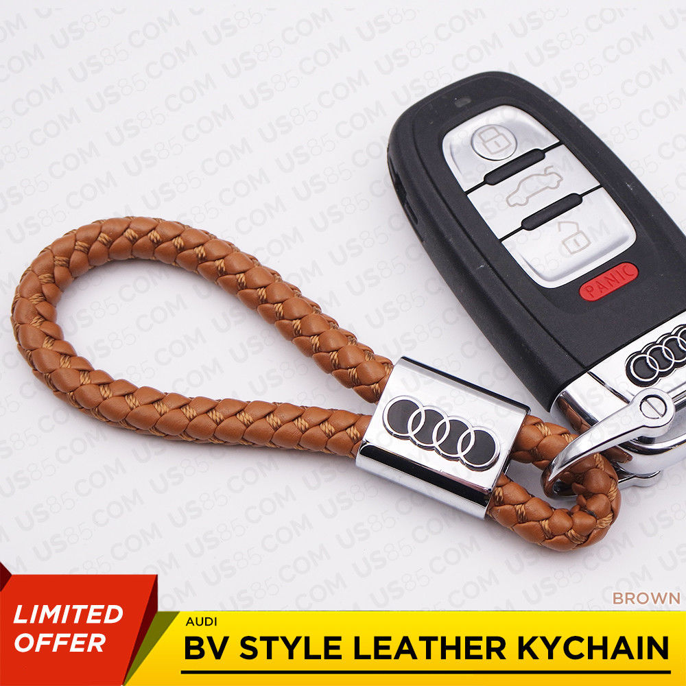 Brown Calf Leather Alloy For Audi Keychain Gift Decoration Gift Accessories - US85.COM