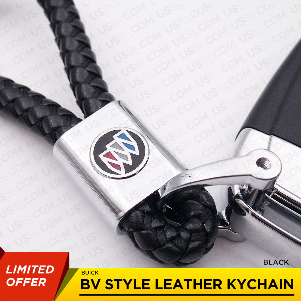 Buick Logo Emblem Key Chain Metal Black Leather Gift Decoration Accessories - US85.COM