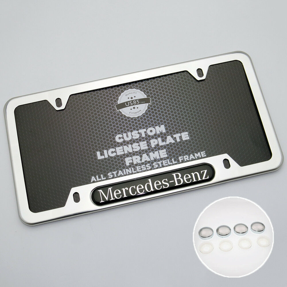Chrome Stainless Steel Front Rear Mercedes-Benz License Plate Frame Cover Gift - US85.COM