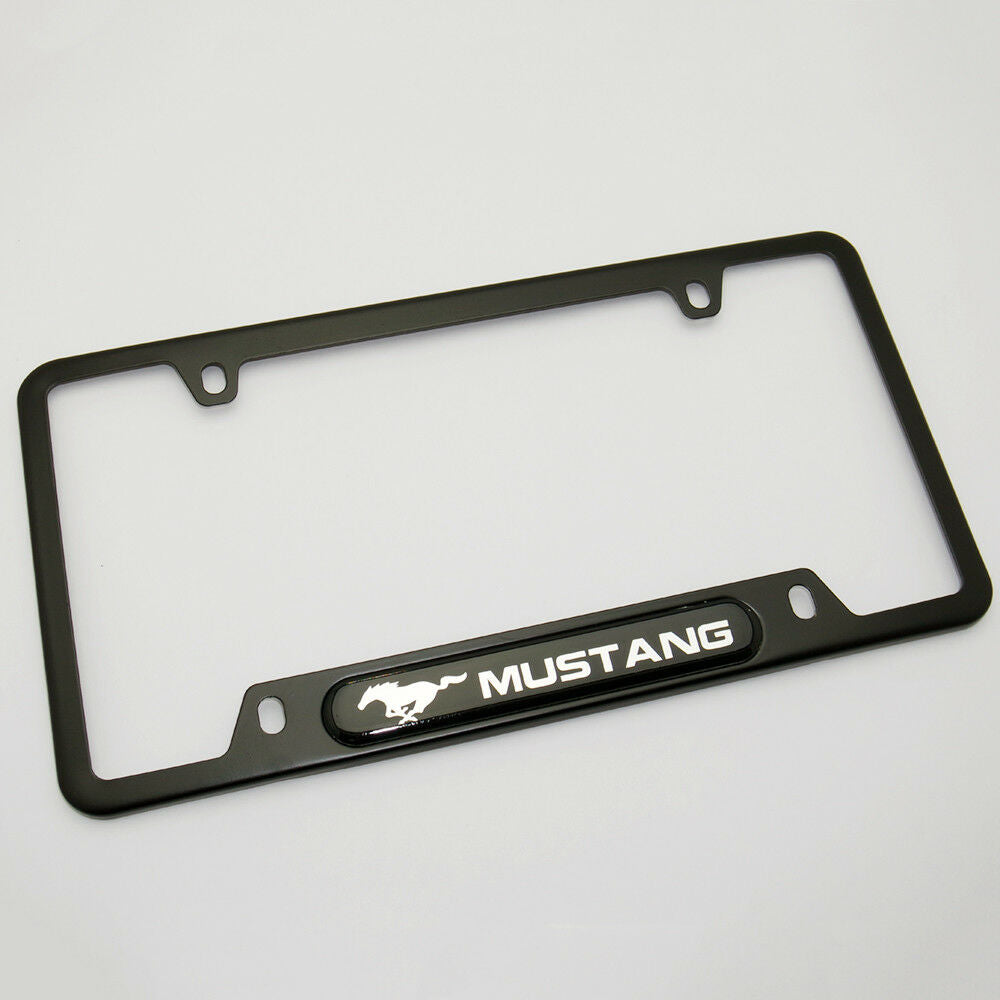 Black Stainless Steel Front Rear Emblem License Plate Frame Cover Gift - Mustang - US85.COM