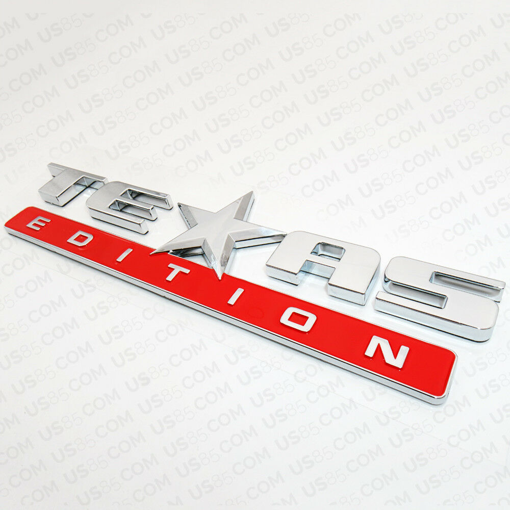 3x Chrome Red TEXAS Edition Logo Emblem Badge Stickers Chevrolet Decoration TEAS - US85.COM