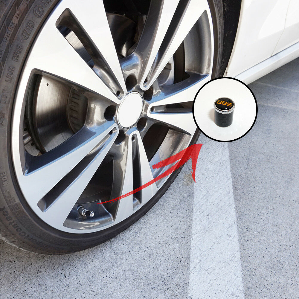 Real Carbon Fiber Car Wheel Tire Air Valve Caps + Keychain Stem Cover BBS Emblem - US85.COM