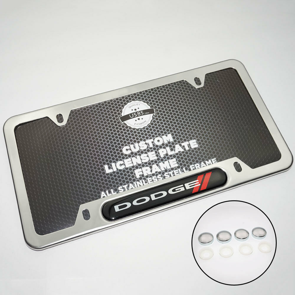 Chrome Stainless Steel Front Rear For Dodge License Plate Frame Cover Gift - US85.COM