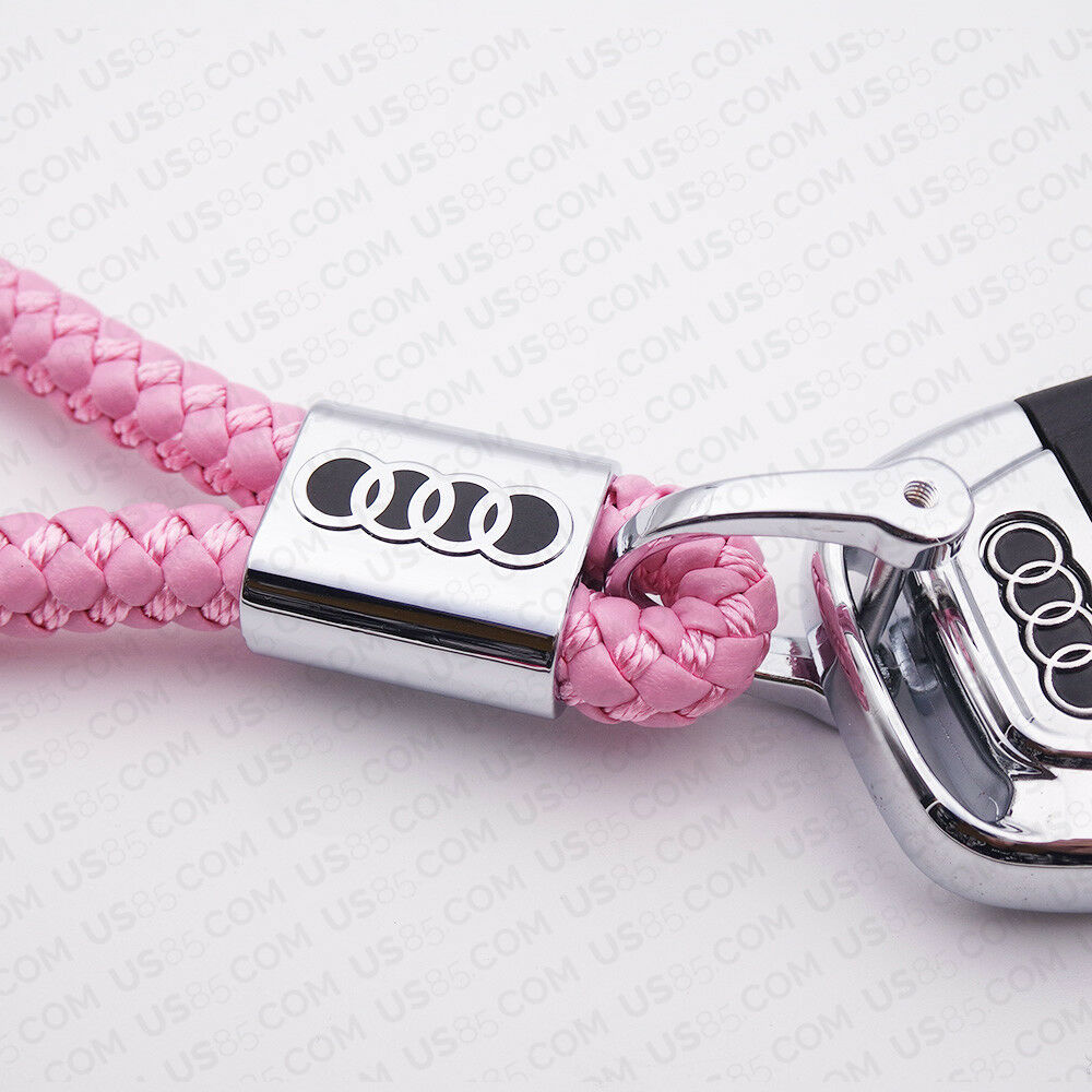 For Audi Pink Emblem Key Chain Ring Alloy BV Style Calf Leather Gift Decoration - US85.COM