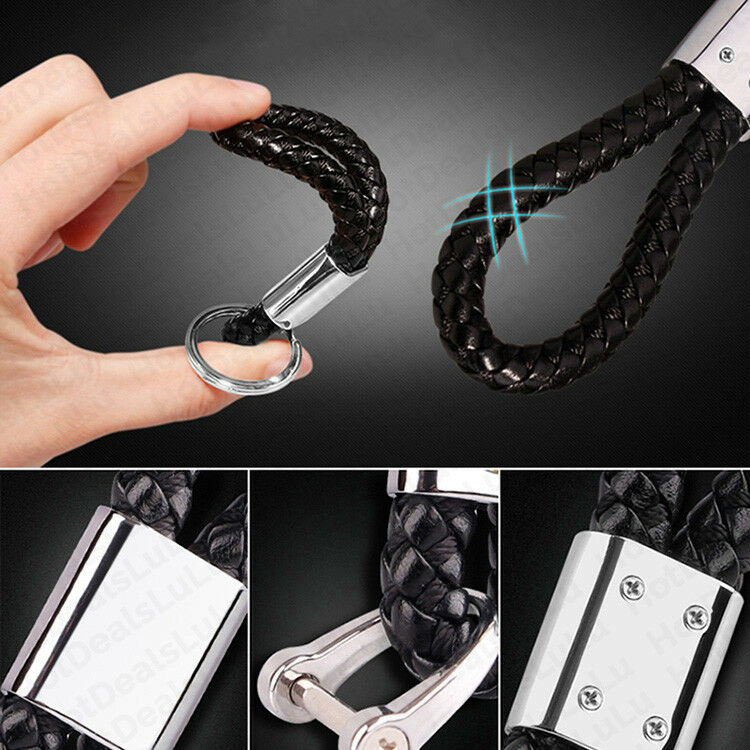 Universal Black & White Calf Leather Alloy Keychain Decoration Gift Accessories - US85.COM