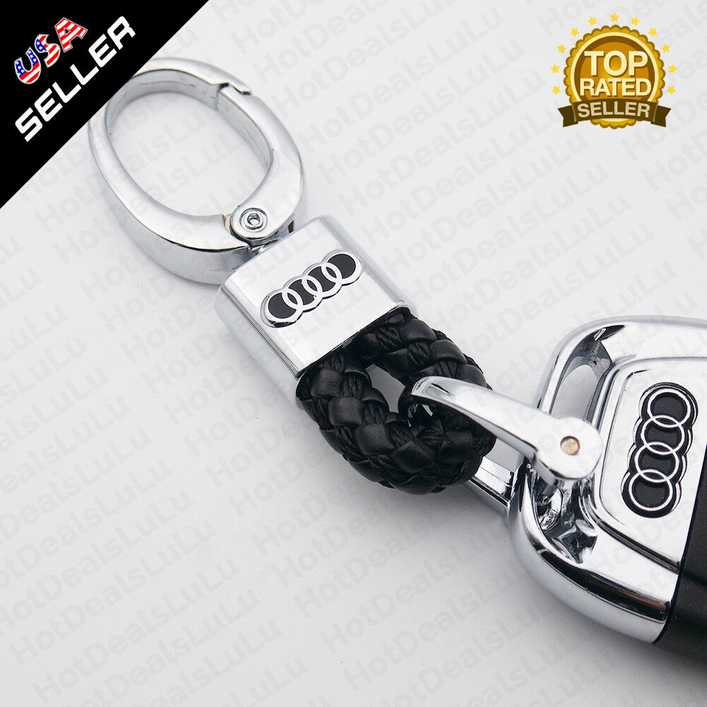 Black Calf Leather Alloy For Audi Emblem Keychain Decoration Gift Accessories - US85.COM