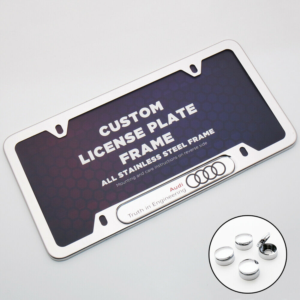 Chrome Stainless Front Rear For Audi Logo Sport Emblem License Plate Frame Cover - US85.COM