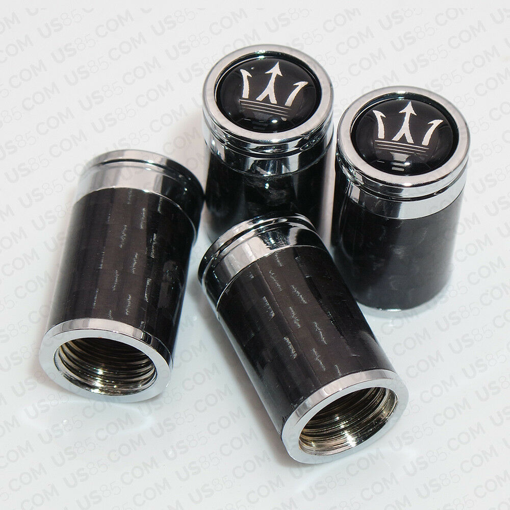 Carbon Fiber Car Wheel Tyre Tire Air Valve Caps Stem Cover With Maserati Emblem - US85.COM