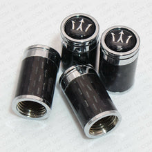 Load image into Gallery viewer, Carbon Fiber Car Wheel Tyre Tire Air Valve Caps Stem Cover With Maserati Emblem - US85.COM