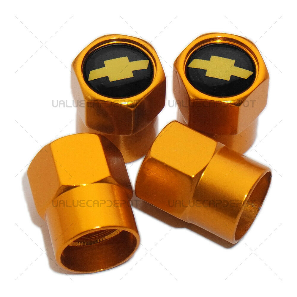 Hex Chevy(yellow) Logo Badge Car SUV Wheels Tire Air Valve Caps Stem Dust Cover Sport - US85.COM