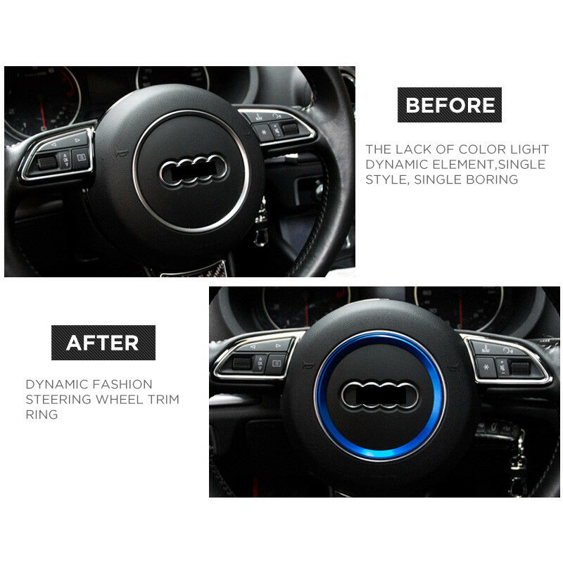 Audi Aluminum Steering Wheel Ring Logo Badge Sticker Emblem Decoration - Blue - US85.COM