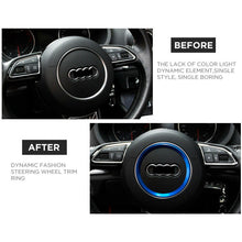 Load image into Gallery viewer, Audi Aluminum Steering Wheel Ring Logo Badge Sticker Emblem Decoration - Blue - US85.COM