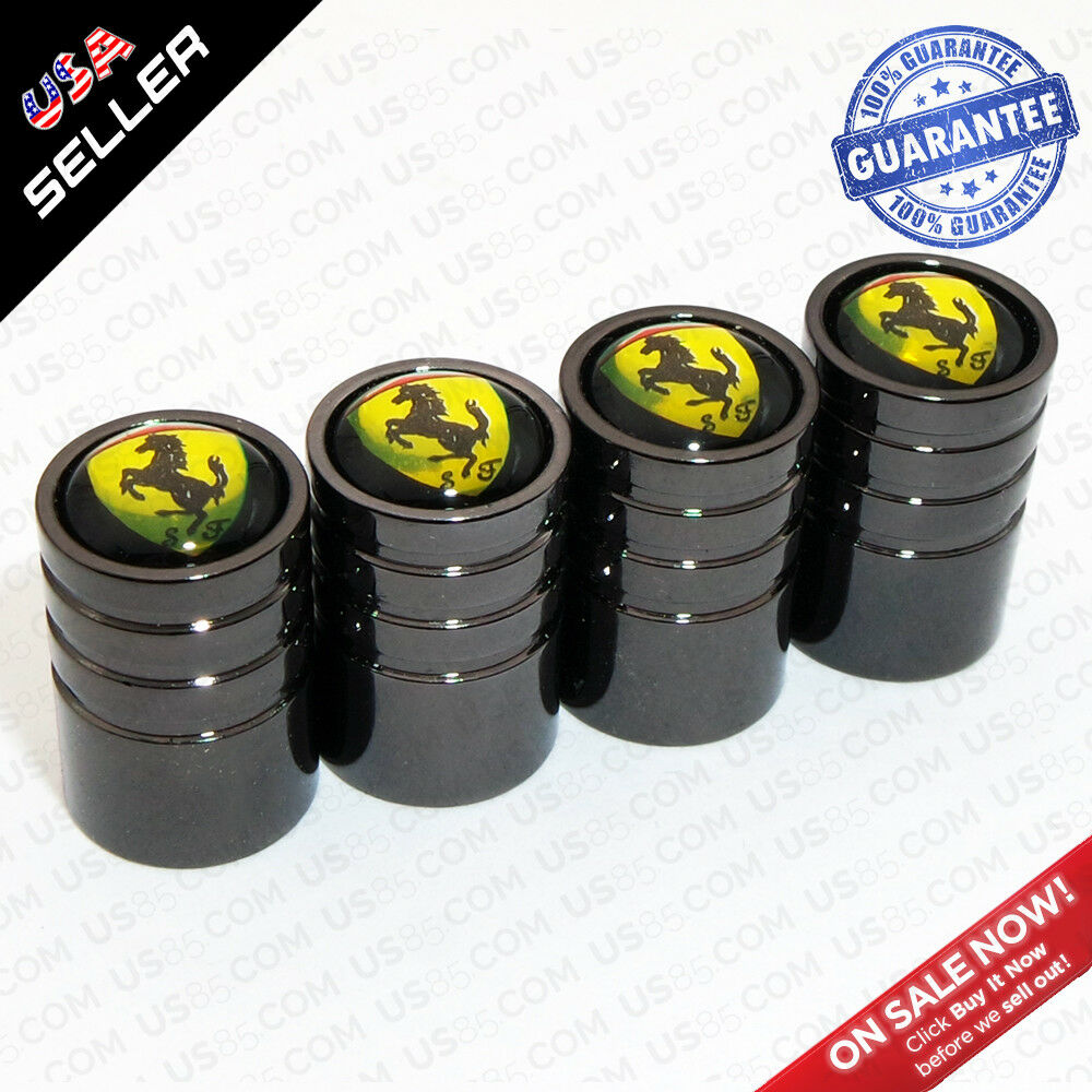 Black Wheels Tire Air Valve Caps Stem Valve Cover Scuderia Ferrari SF Emblem - US85.COM