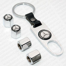 Load image into Gallery viewer, Chrome Car Wheel Tire Valve Dust Stems Air Caps + Keychain With Mercedes Emblem - US85.COM