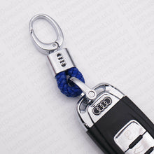 Load image into Gallery viewer, Universal For Audi Blue Calf Leather Alloy Emblem Keychain Ring Decoration Gift - US85.COM