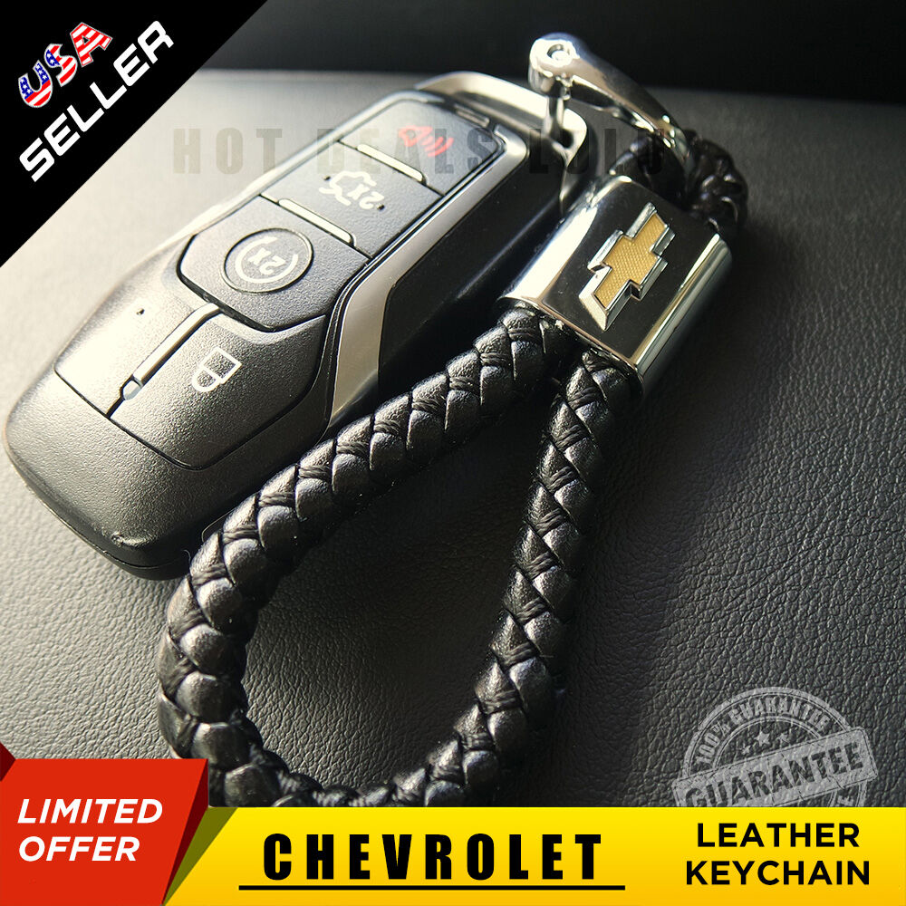 Leather Metal Keychain Ring Gift With Chevrolet Emblem Decoration Accessories - US85.COM